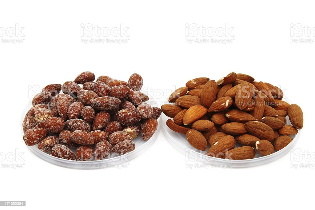 Almonds salty and raw stock photo
