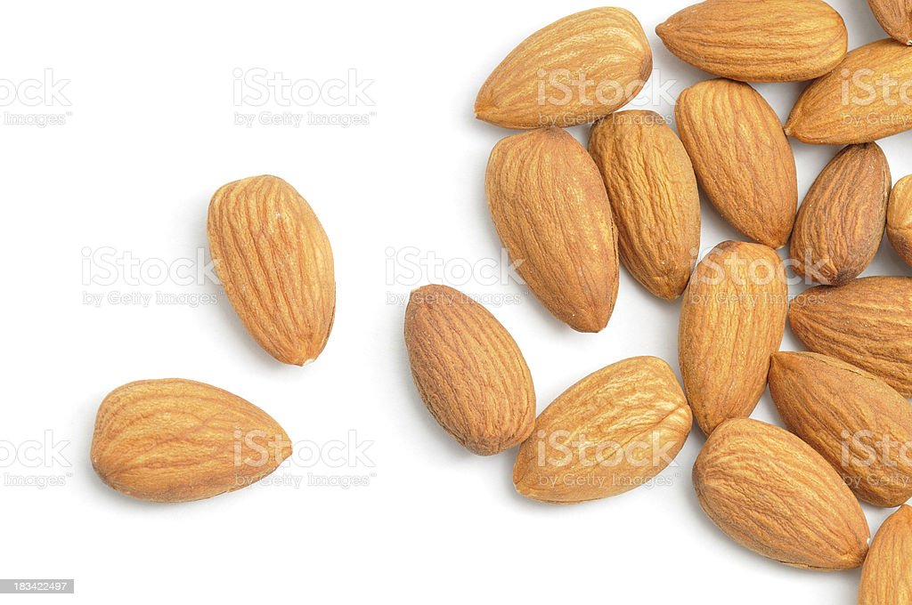 Almonds Scattered royalty-free stock photo