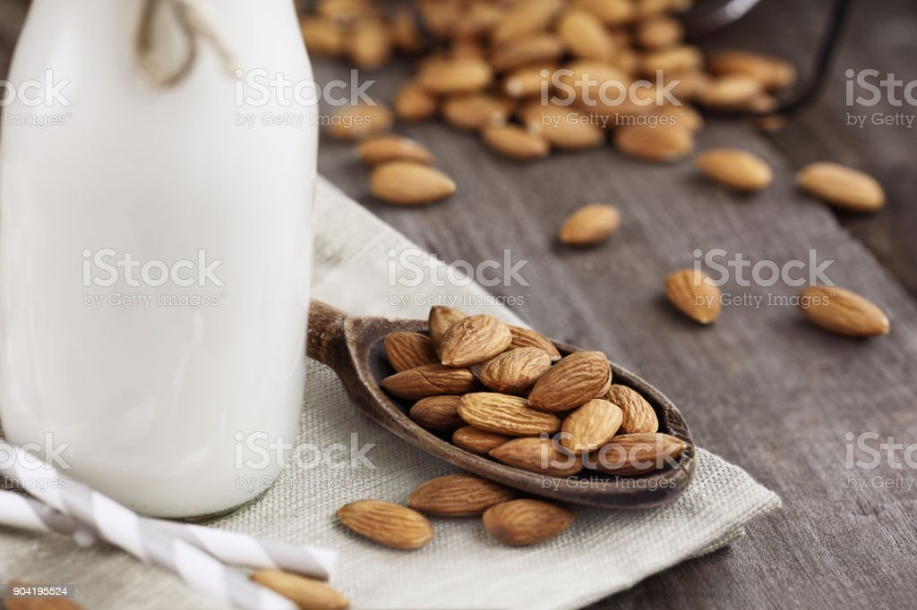 Almonds with Almond Milk stock photo