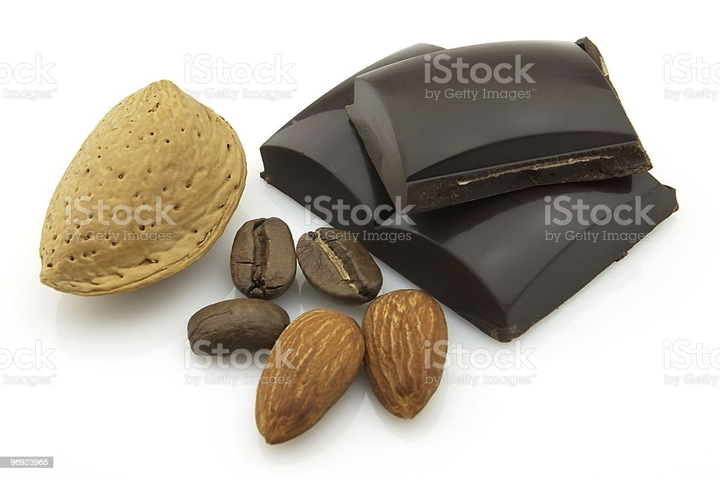Almonds with chocolate royalty-free stock photo