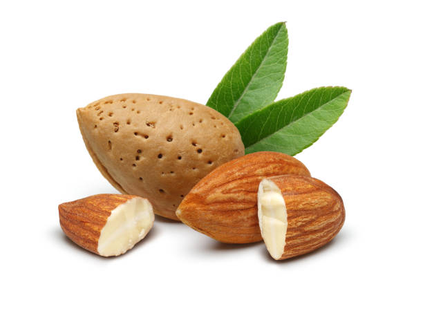 Almonds with leaves isolated on white Almonds with leaves isolated on white background almond stock pictures, royalty-free photos & images