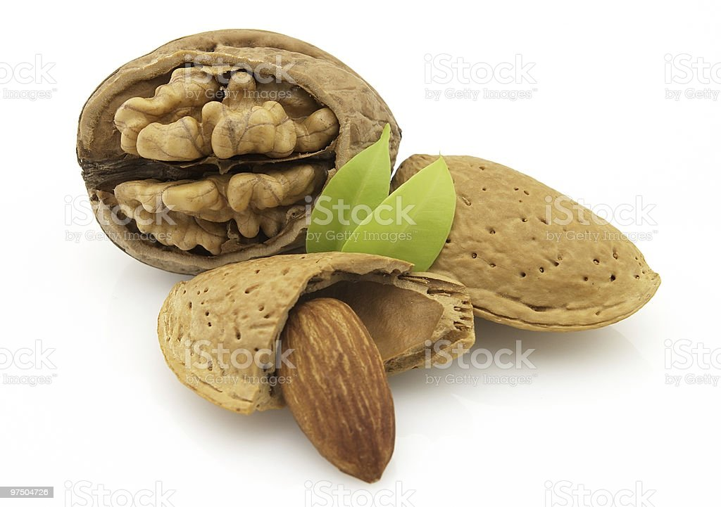 Almonds with walnuts royalty-free stock photo