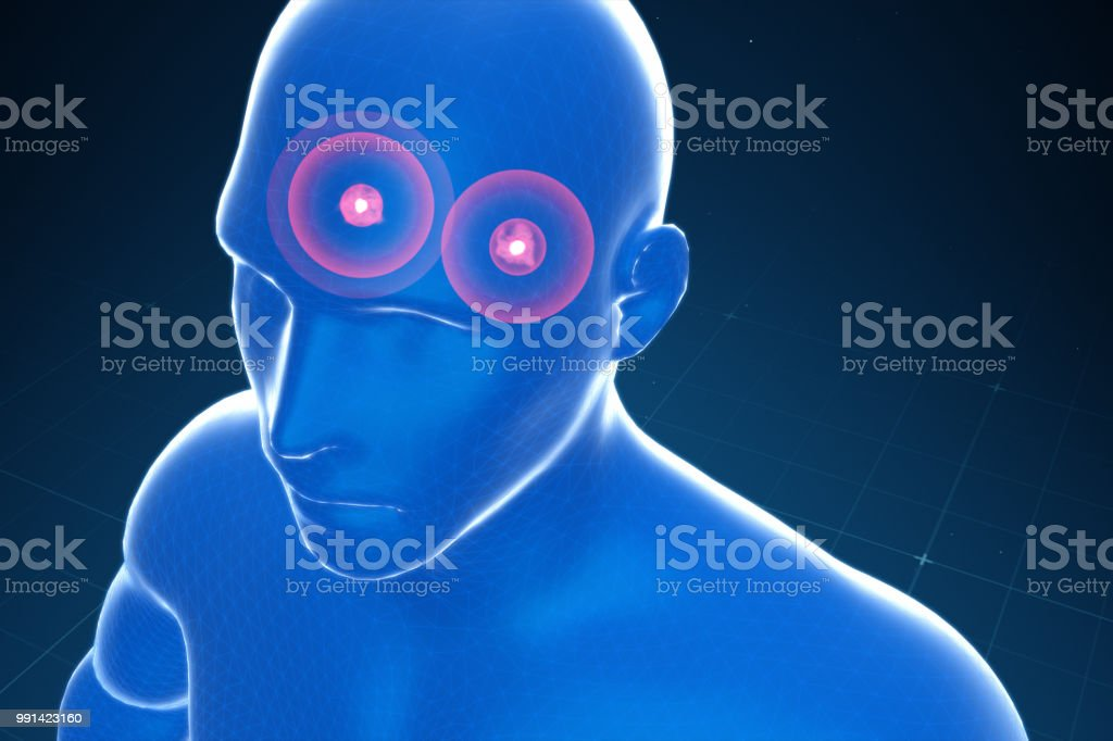 Almond-shaped body in the brain emitting fear, panic, anxiety stock photo