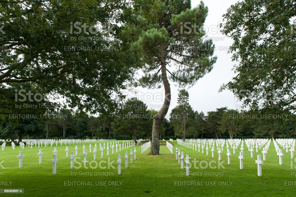 Almost 10.000 American soldiers rest at the Normandy American Cemetery stock photo