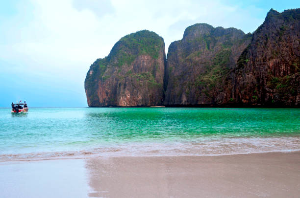 Almost desert Maya Bay early in the morning stock photo