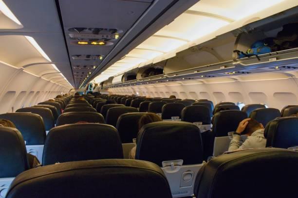 Almost empty aircraft Air France, flight Paris to Prague Czech Republic. stock photo