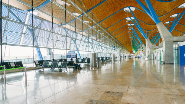 Almost empty departures terminal T4 at Bajaras International Airport, Madrid, Spain stock photo