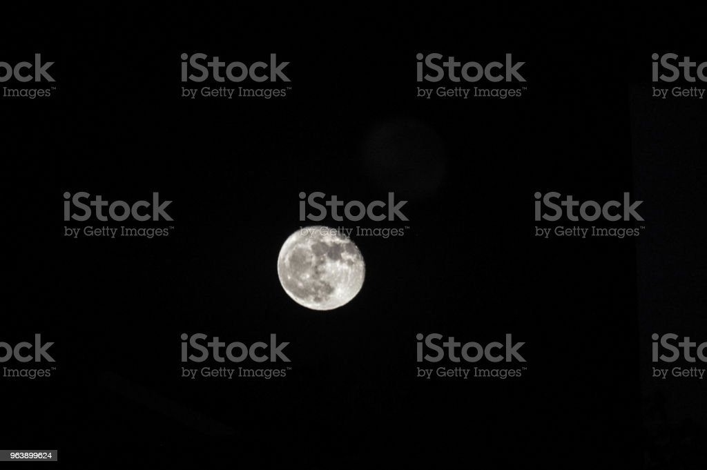 Almost Full Moon Over Los Angeles - Royalty-free Astronomy Stock Photo