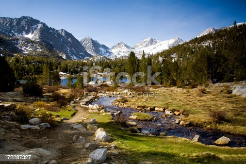 A secluded pristine stream and lake in California's Eastern Sierra Nevada Mountains. (Little Lakes Valley) Click on an image to go to my Alpine Reflections Lightbox.