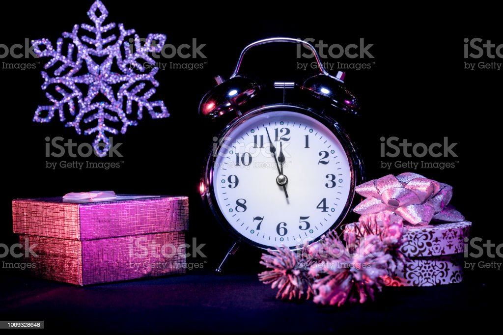 Almost Midnight - Festive Christmas Background with Vintage Alarm...