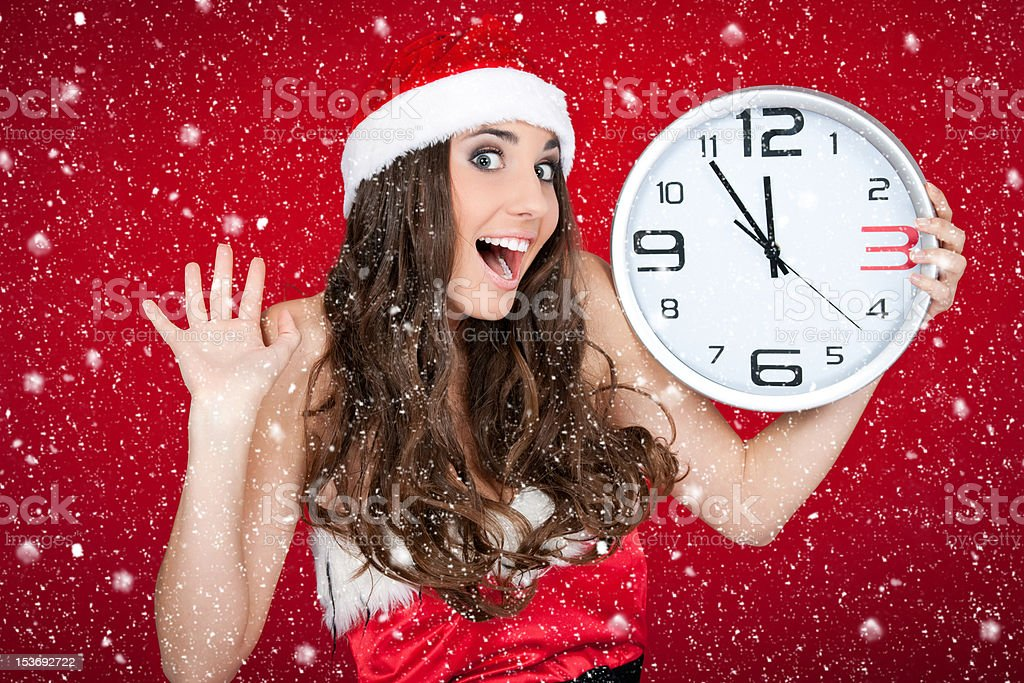 almost new year - santa girl,clock , snow concept royalty-free stock photo