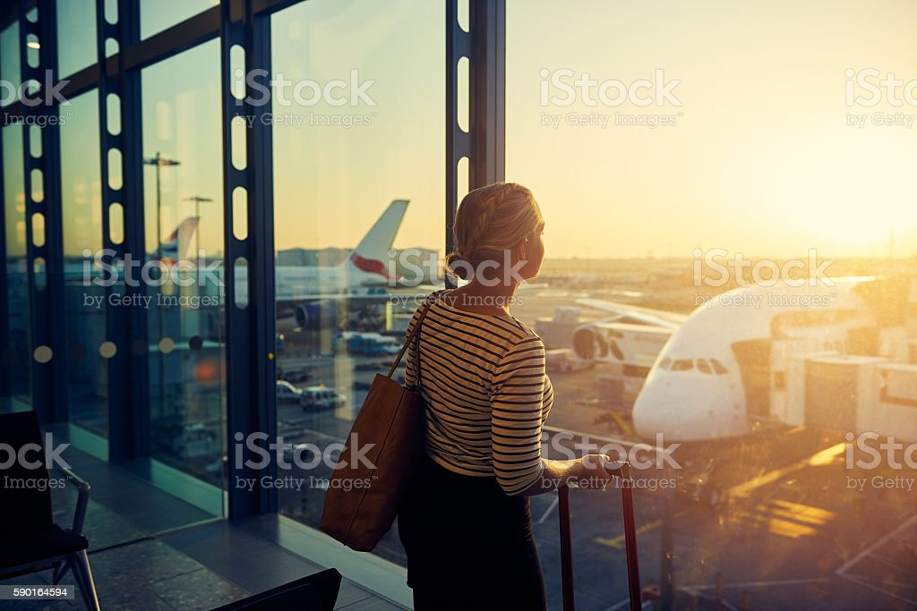Almost time for my flight stock photo