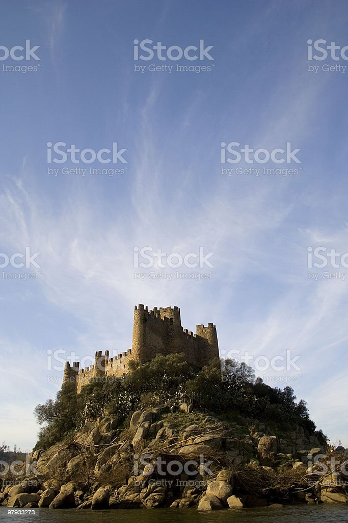 Almourol Castle and Clouds royalty-free stock photo