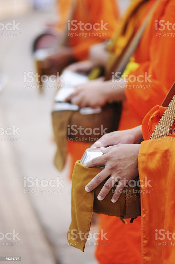 \'Every early morning, monks from temple walking to get offerings from...