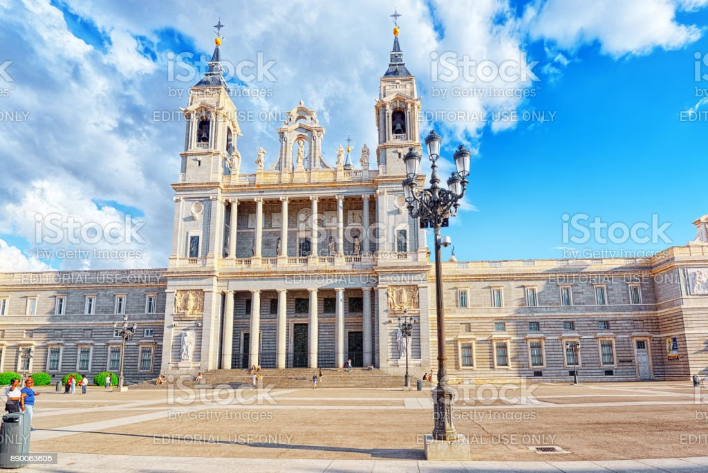Almudena Cathedral on the other side of the Royal Palace in Madrid. Spain. stock photo