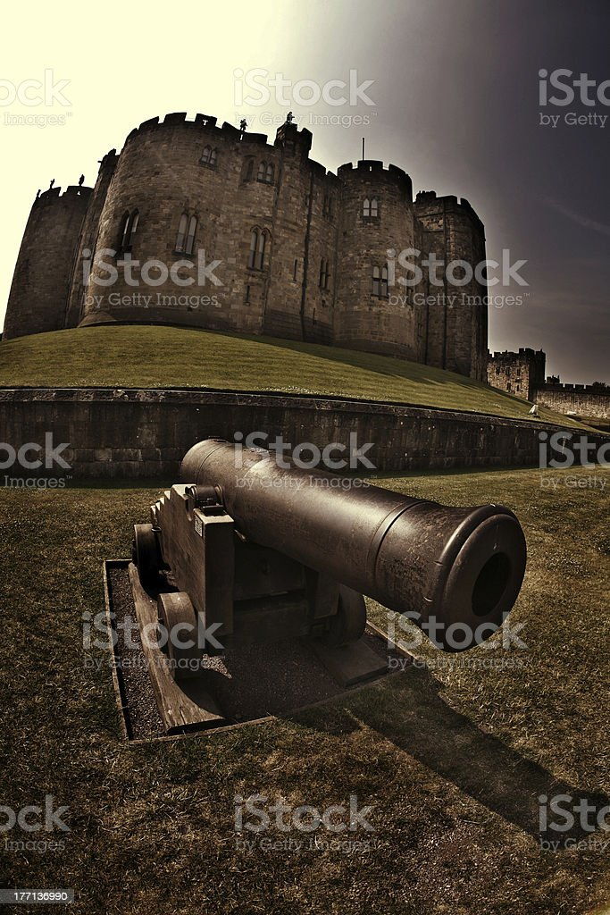 Alnwick Castle and Large Cannonball Shooter stock photo
