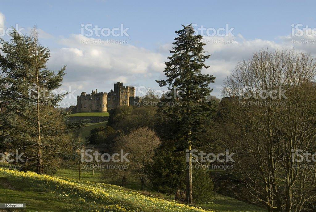 Alnwick Castle and Lions Bridge stock photo
