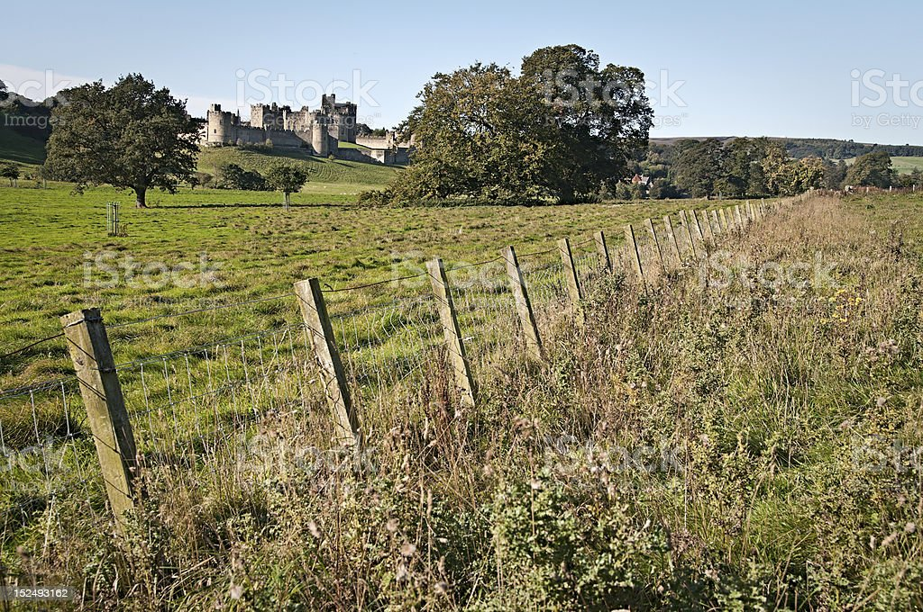 Alnwick Castle with pasture royalty-free stock photo