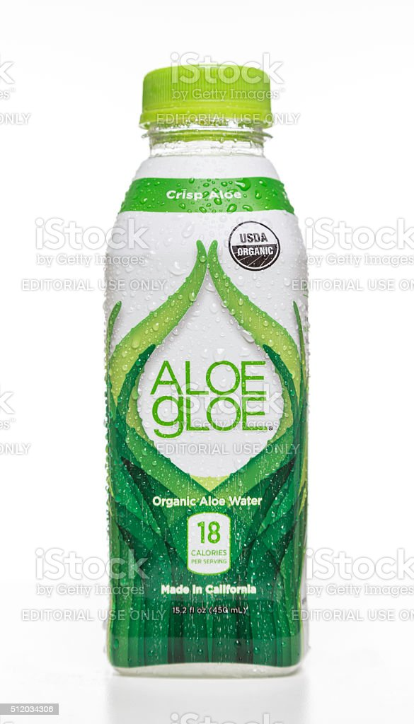 Aloe Gloe organic water bottle stock photo