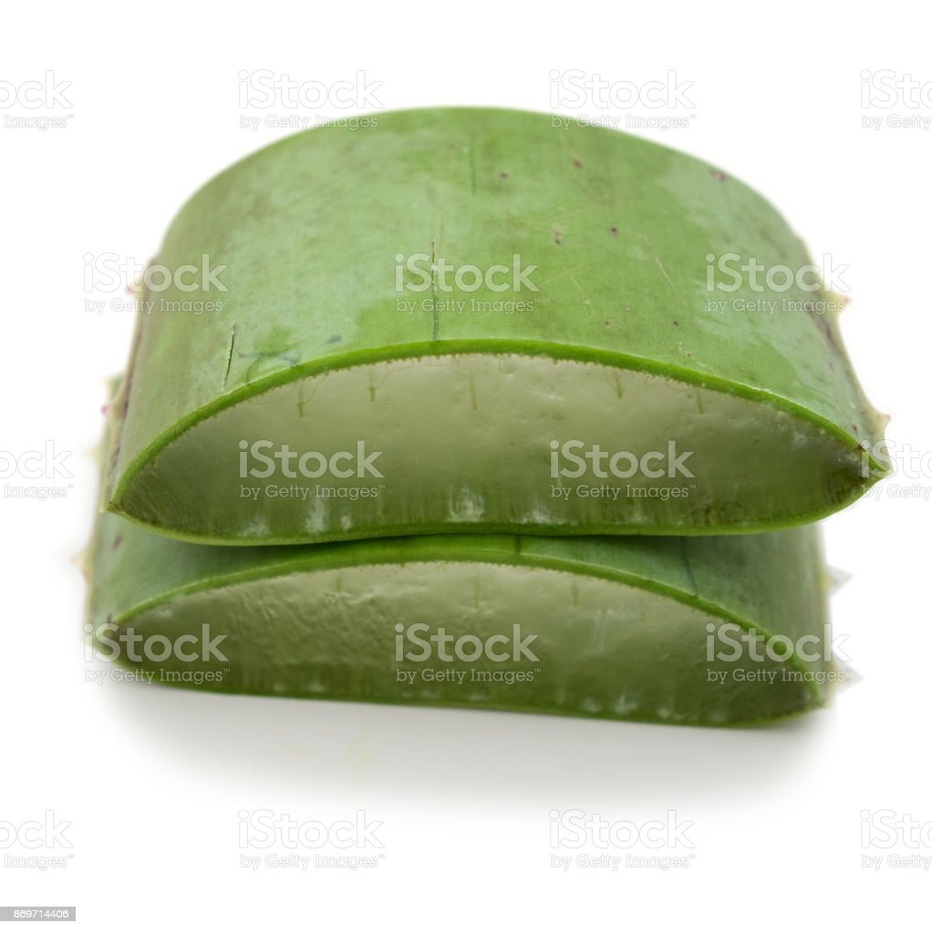 Aloe sliced, isolated on a white background stock photo