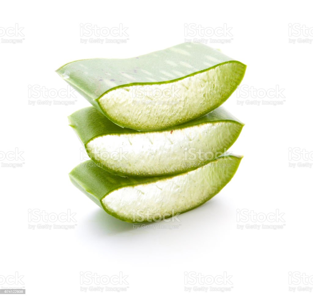 Aloe vera sliced isolated on a white background royalty-free stock photo