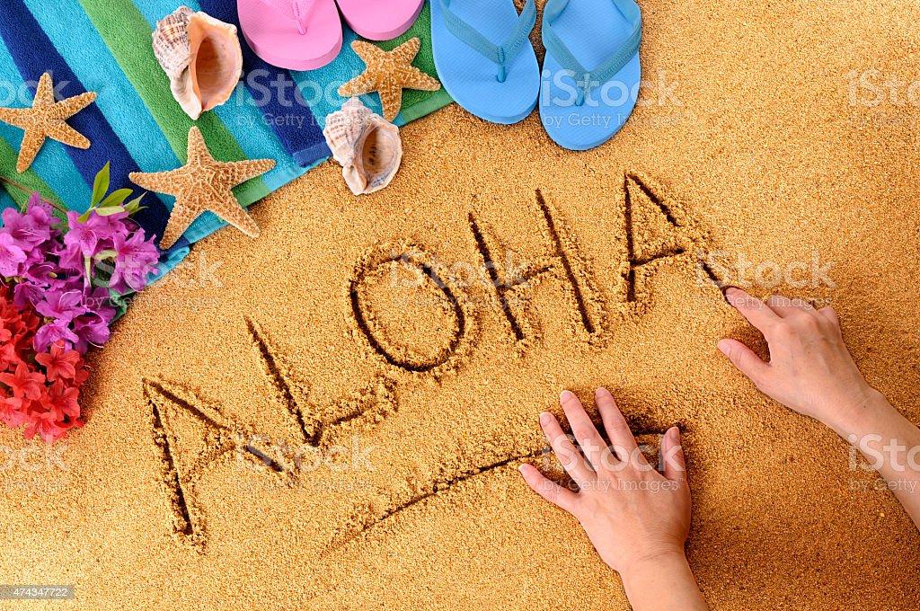 Aloha beach escrito - foto de stock