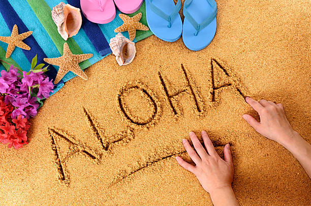 Aloha beach writing stock photo
