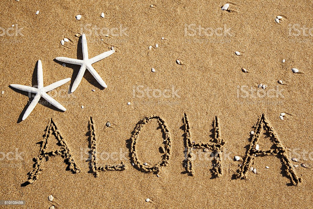 'Aloha' carved in the sand stock photo