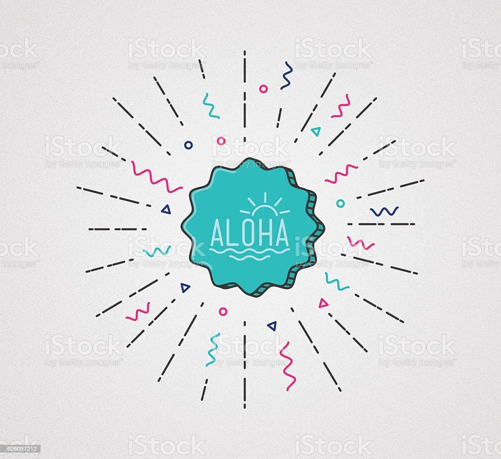 アロハフラットイラスト。ハワイのトロピカルなグラフィックをバナー ストックフォト