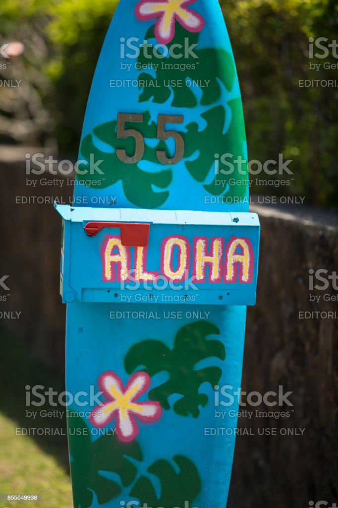 Aloha from Hawaii mailbox Honolulu USA stock photo