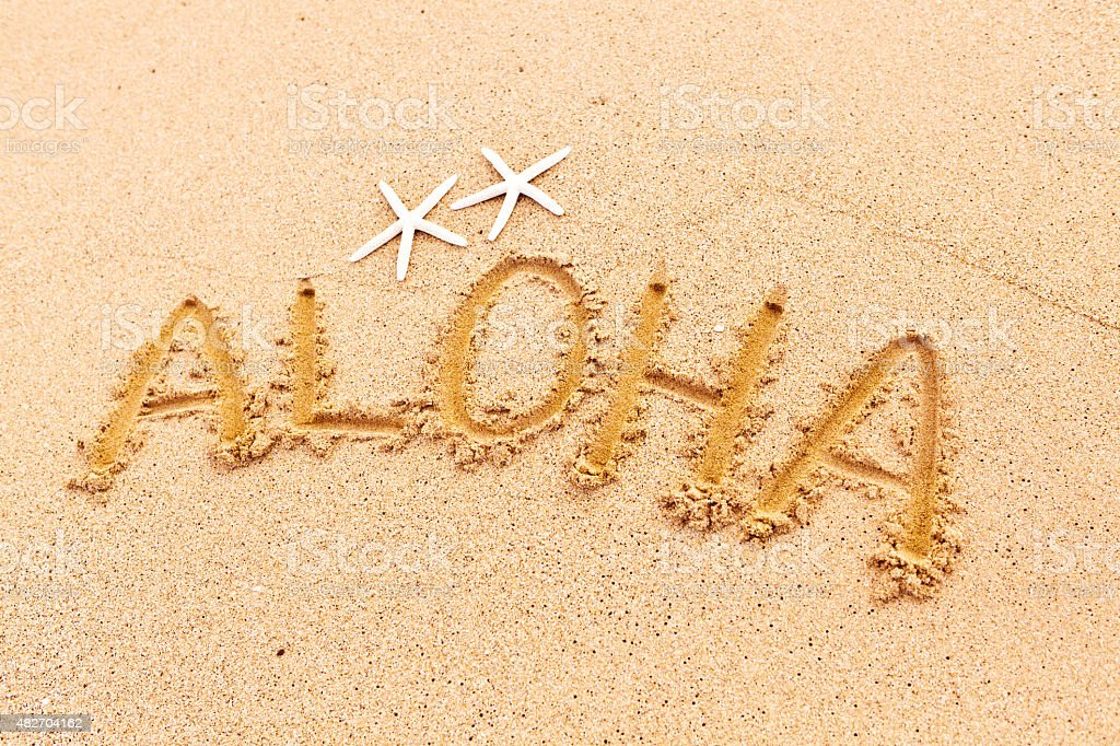 Aloha greeting from beach of hawaii stock photo more pictures of aloha greeting from beach of hawaii royalty free stock photo m4hsunfo