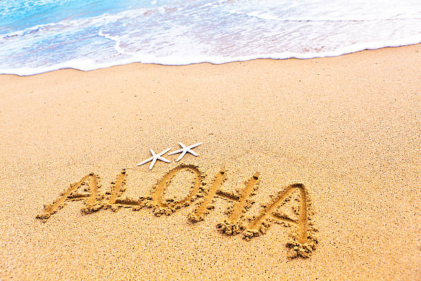 Aloha Greeting From Beach of Hawaii stock photo