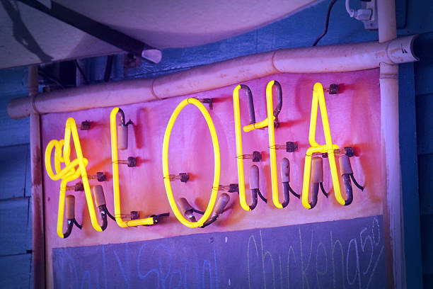 Aloha Neon Sign stock photo