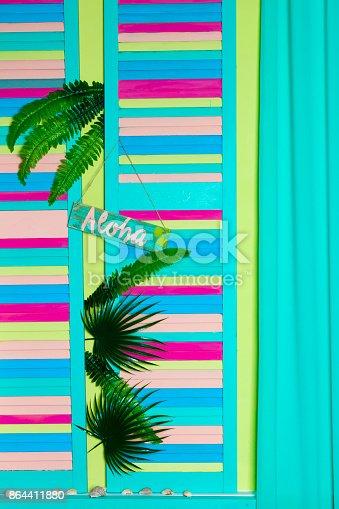 istock Aloha Summer - slogan poster with pine apple 864411880