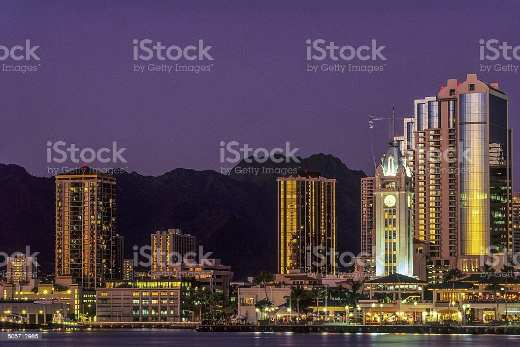 Aloha Tower and downtown Honolulu stock photo