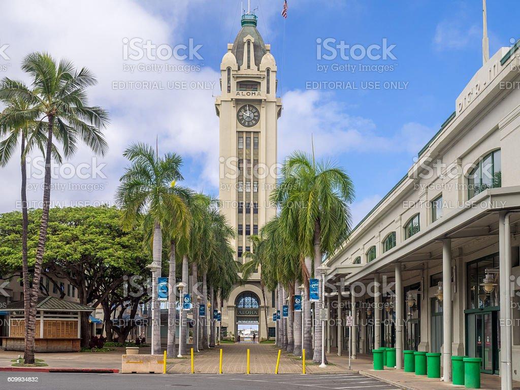 Aloha Tower, Honolulu Harbor stock photo