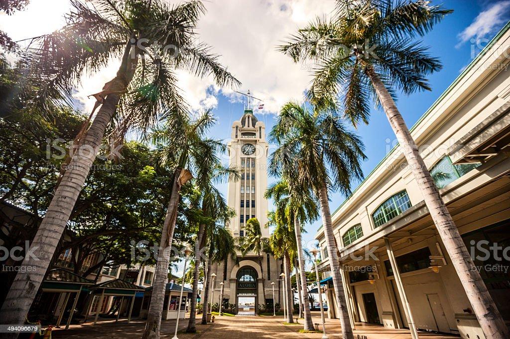Aloha Tower, Honolulu, Oahu, Hawaii stock photo