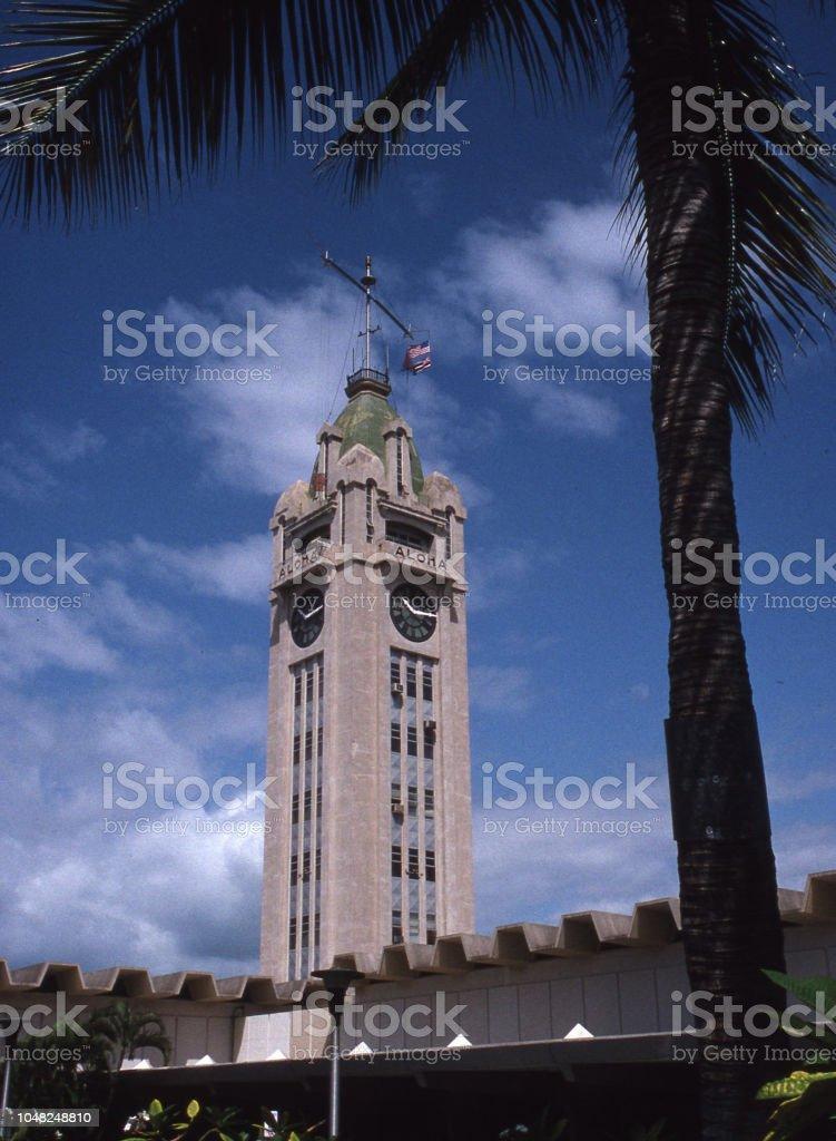 Aloha Tower, Honolulu stock photo