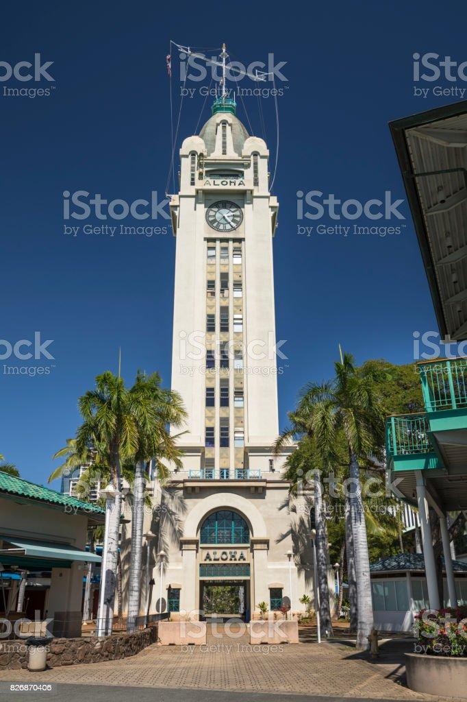 Aloha Tower in downtown Honolulu Hawaii stock photo