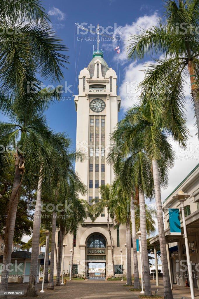 Aloha Tower in downtown Honolulu Hawaii USA stock photo