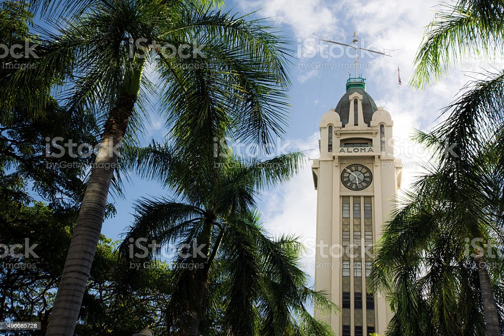 Aloha Tower on Oahu in Hawaii stock photo