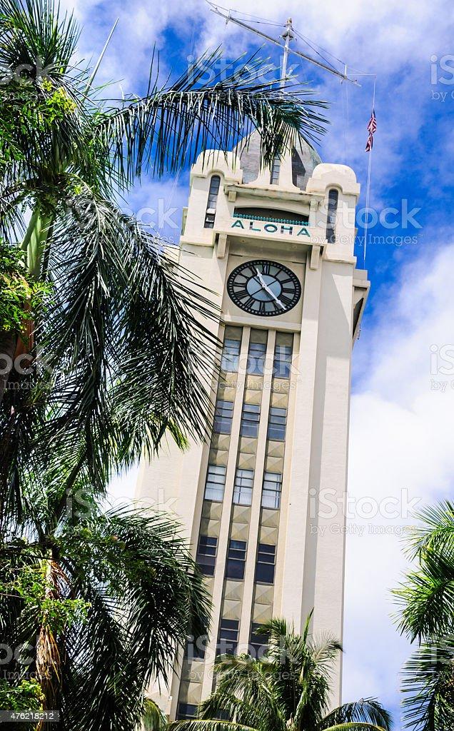 Aloha Tower-Honolulu stock photo