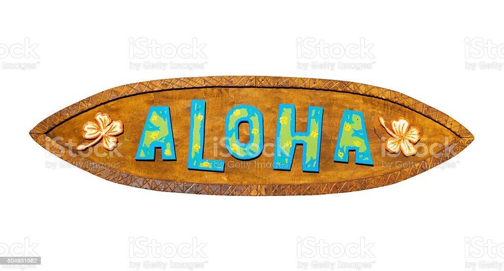 Letrero De Open: Aloha Wooden Sign Path Included Stock Photo