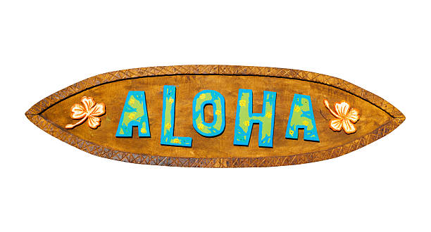 Aloha wooden sign. Path included. stock photo