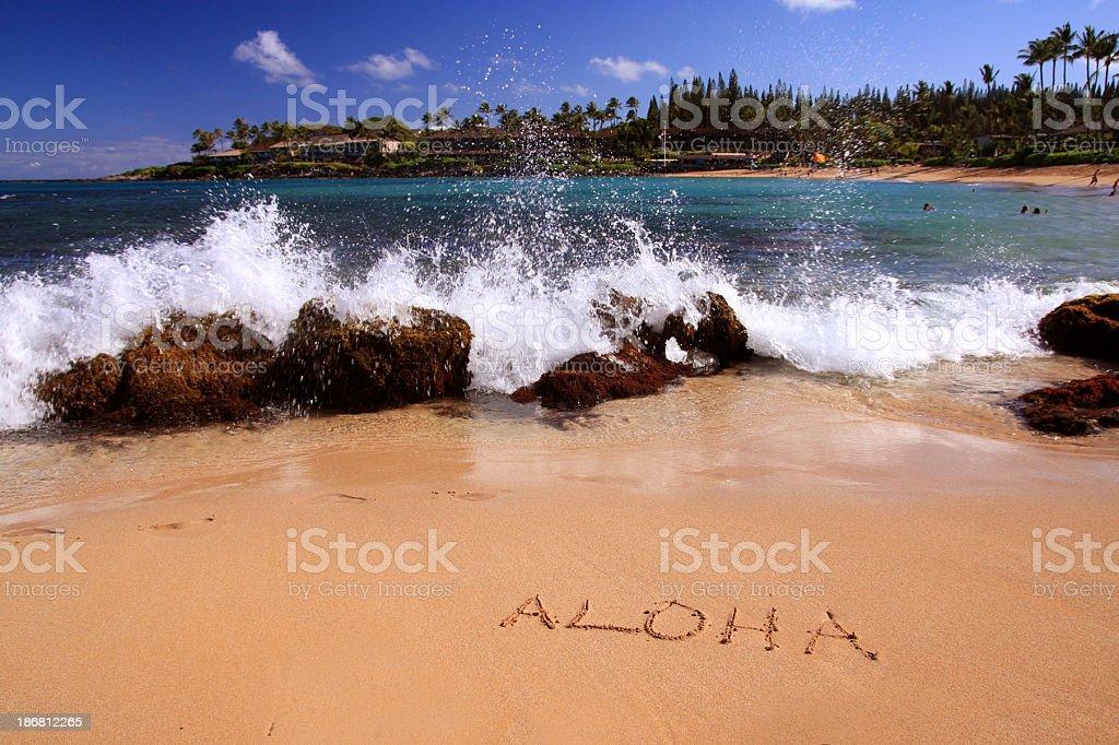 アロハ書面でのマウイのホテル、ハワイのリゾートの砂浜 ストックフォト