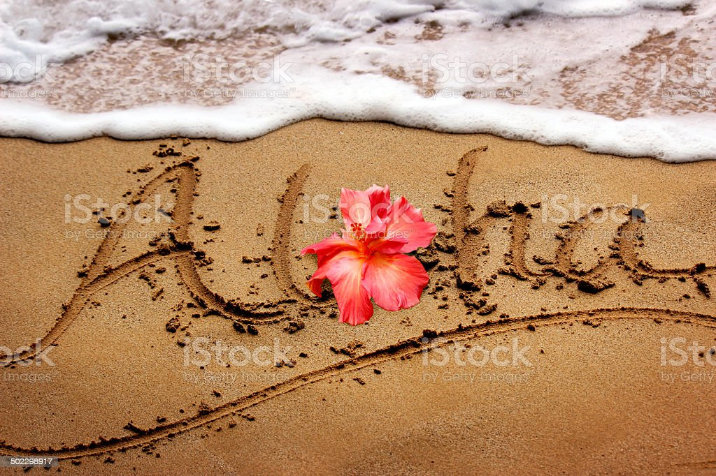 Aloha Written in the Sand - Maui, Hawaii stock photo
