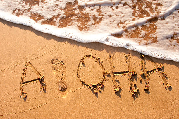 Aloha written in the sand stock photo