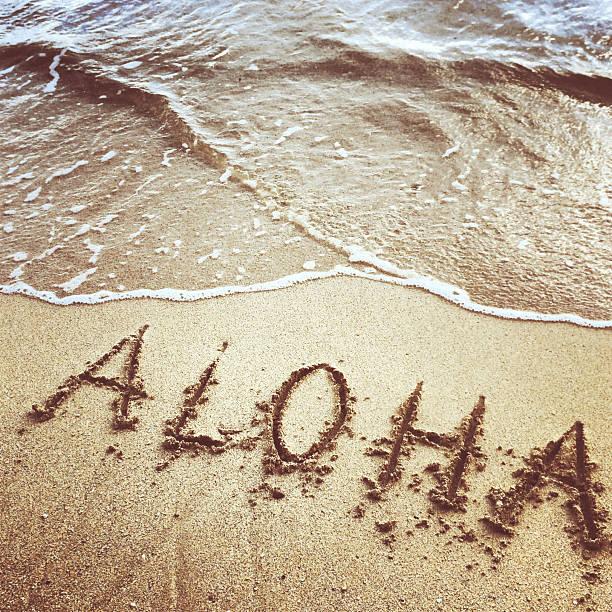 Aloha written on sand, Hawaii stock photo