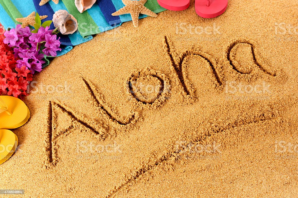 Aloha written with finger on golden sand in Hawaii stock photo