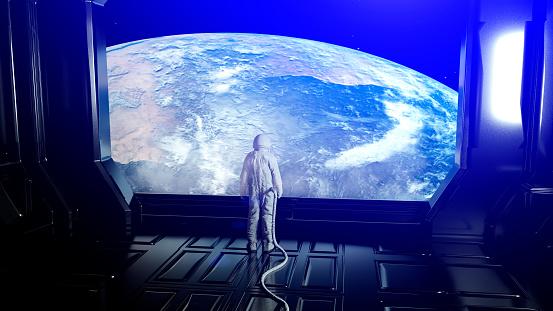 Alone astronaut in futuristic interior. Sci fi room view of the earth. 3d rendering.